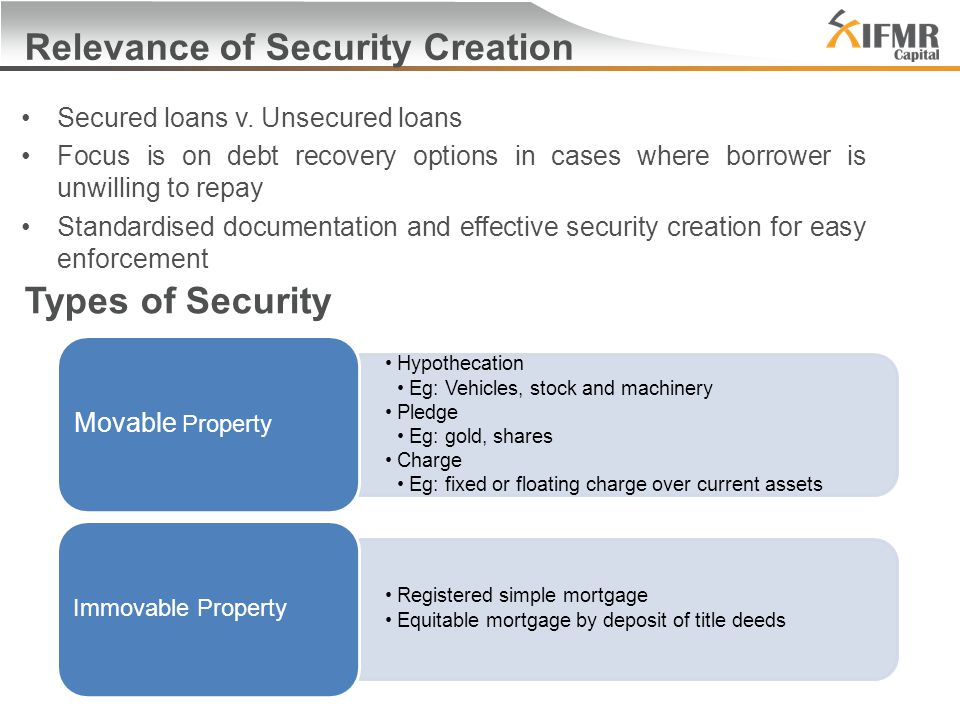 Relevance of Security Creation Secured loans v.