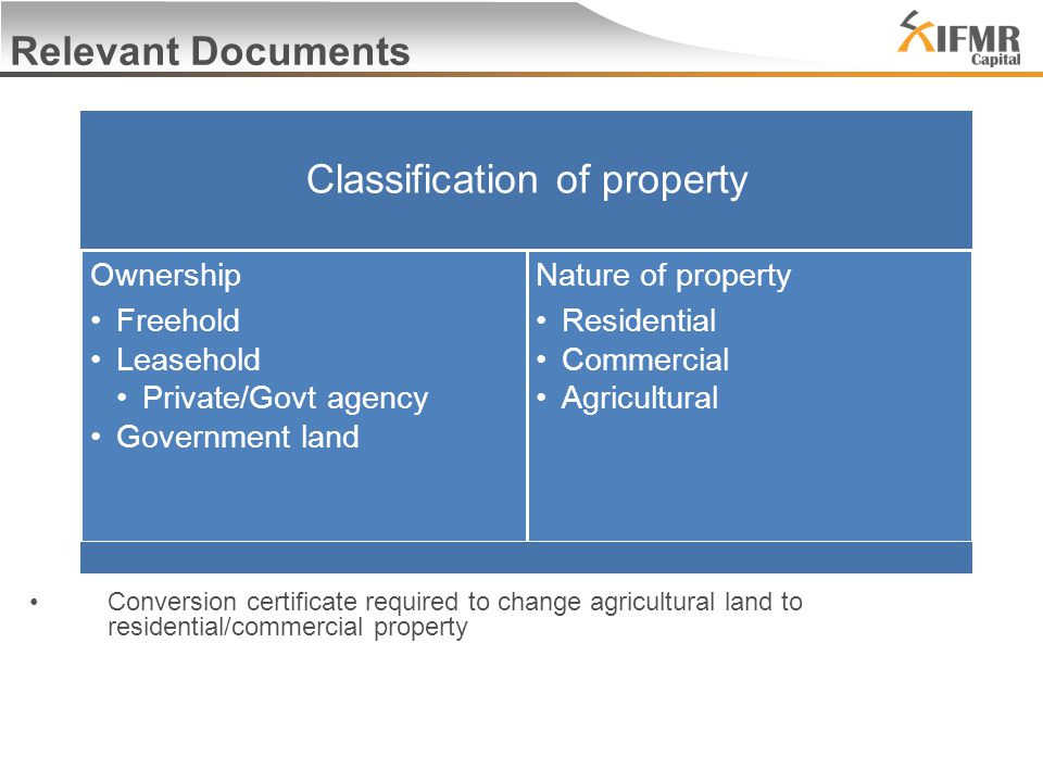 Relevant Documents Conversion certificate required to change agricultural land to residential/commercial property Classification of property Ownership Freehold Leasehold Private/Govt agency Government land Nature of property Residential Commercial Agricultural