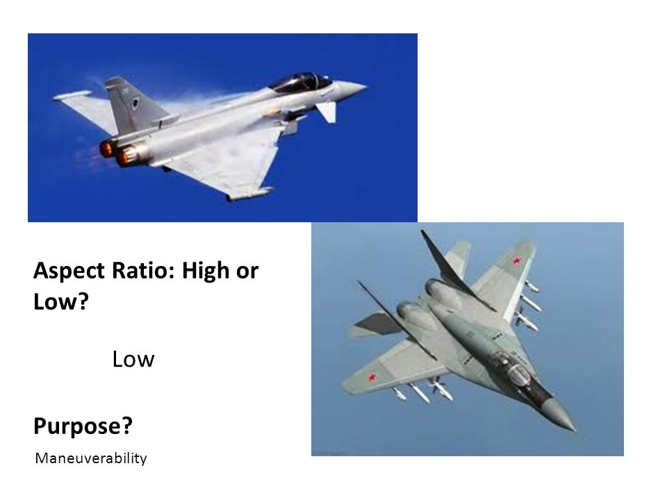 Aspect Ratio: High or Low Purpose Low Maneuverability