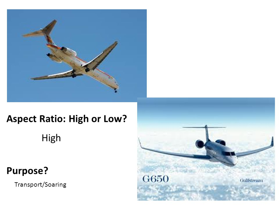 Aspect Ratio: High or Low Purpose High Transport/Soaring