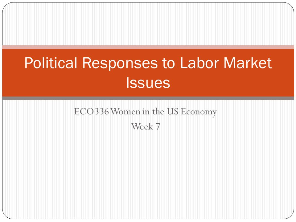 ECO336 Women in the US Economy Week 7 Political Responses to Labor Market Issues