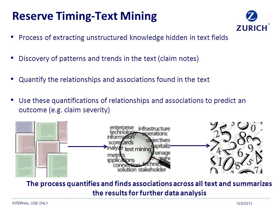 INTERNAL USE ONLY Reserve Timing-Text Mining Process of extracting unstructured knowledge hidden in text fields Discovery of patterns and trends in th