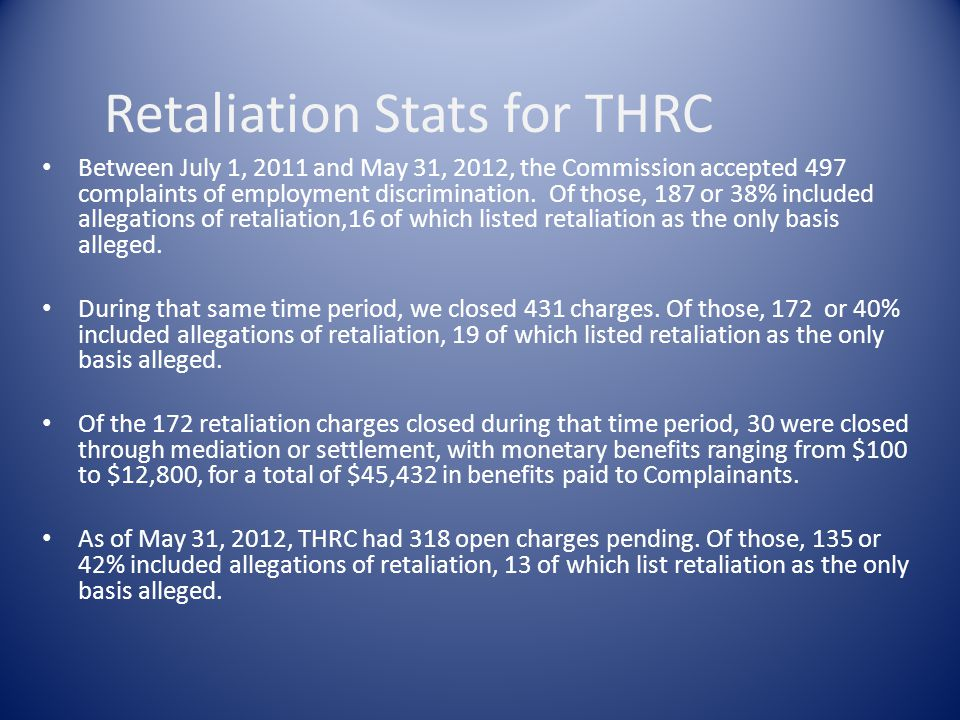 Retaliation Stats for THRC Between July 1, 2011 and May 31, 2012, the Commission accepted 497 complaints of employment discrimination.