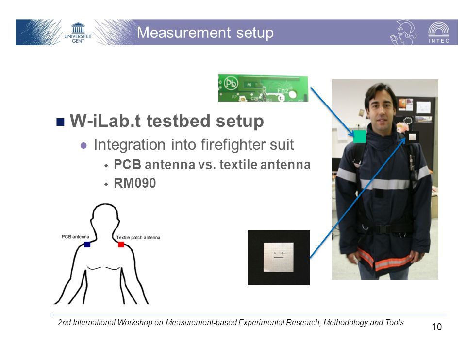 Measurement setup W-iLab.t testbed setup Integration into firefighter suit PCB antenna vs.