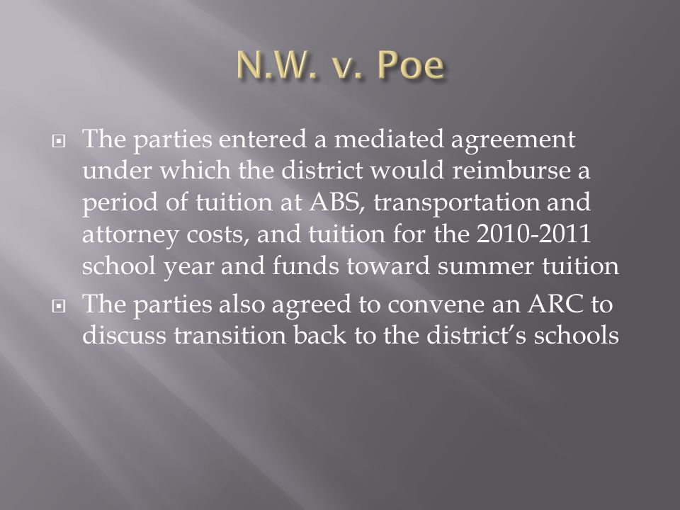 The parties entered a mediated agreement under which the district would reimburse a period of tuition at ABS, transportation and attorney costs, and t