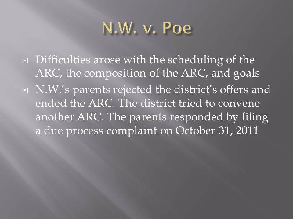 Difficulties arose with the scheduling of the ARC, the composition of the ARC, and goals N.W.s parents rejected the districts offers and ended the ARC.