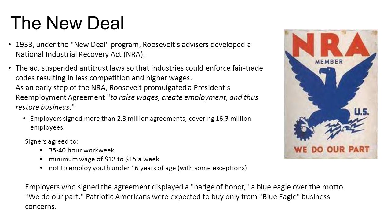 The New Deal 1933, under the