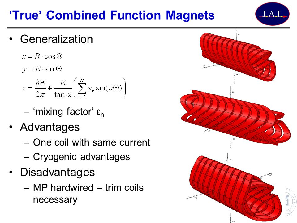 Generalization –mixing factor ε n Advantages –One coil with same current –Cryogenic advantages Disadvantages –MP hardwired – trim coils necessary True