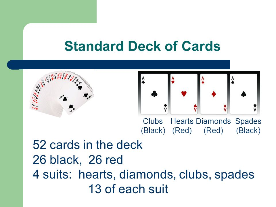 Standard Deck of Cards 52 cards in the deck 26 black, 26 red 4 suits: hearts, diamonds, clubs, spades 13 of each suit Clubs (Black) Hearts (Red) Diamonds (Red) Spades (Black)