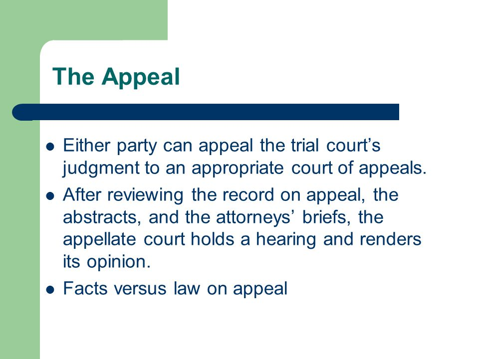 The Appeal Either party can appeal the trial courts judgment to an appropriate court of appeals.