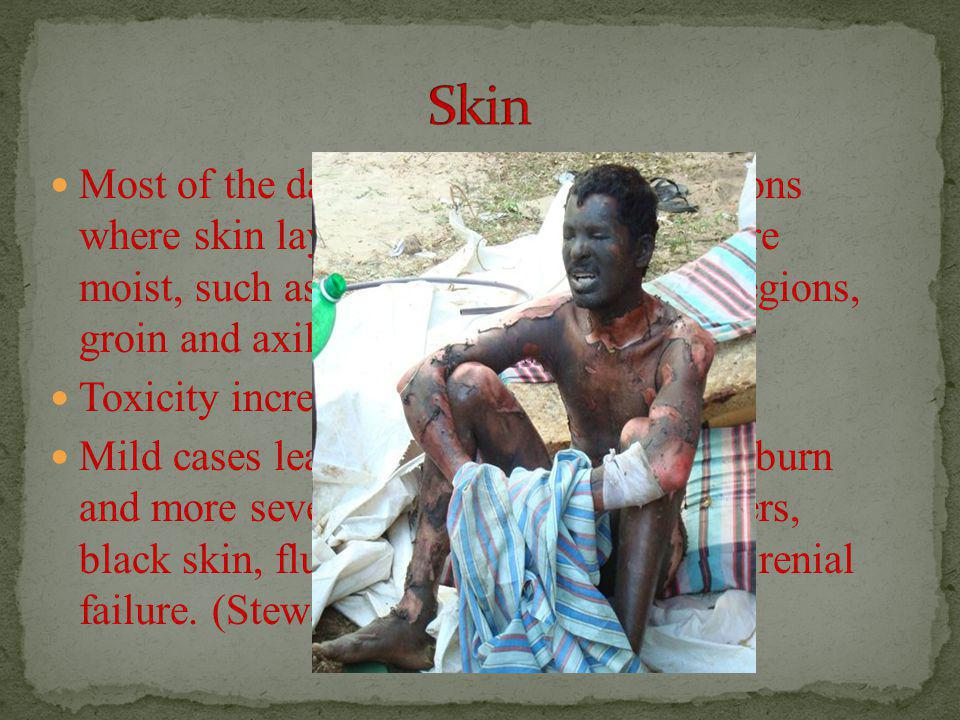 Most of the damage is done on the regions where skin layers are less thick and more moist, such as the face, scrotum, anal regions, groin and axilla Toxicity increases with temperature.