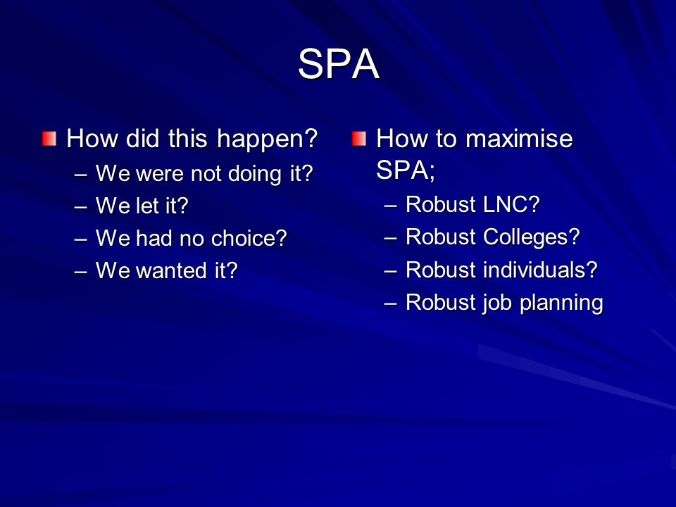 SPA How did this happen? –We were not doing it? –We let it? –We had no choice? –We wanted it? How to maximise SPA; –Robust LNC? –Robust Colleges? –Rob