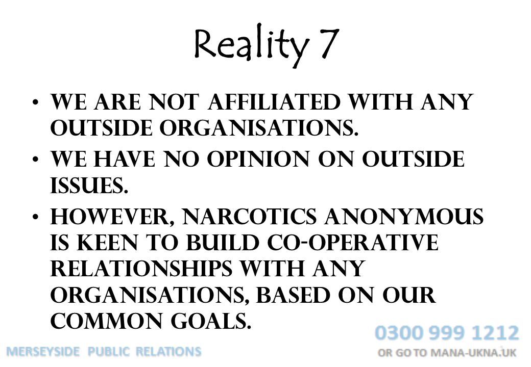 Reality 7 We are not affiliated with any outside organisations.