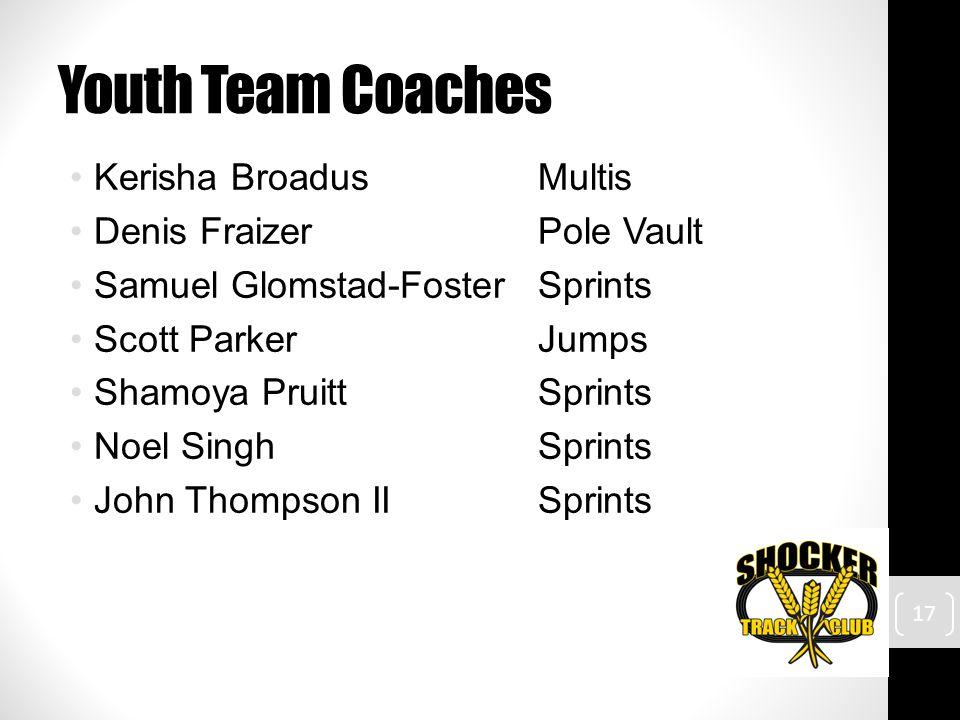 Youth Team Coaches Kerisha BroadusMultis Denis FraizerPole Vault Samuel Glomstad-FosterSprints Scott ParkerJumps Shamoya PruittSprints Noel SinghSprints John Thompson IISprints 17