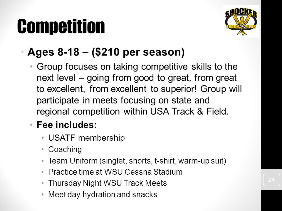 Competition Ages 8-18 – ($210 per season) Group focuses on taking competitive skills to the next level – going from good to great, from great to excellent, from excellent to superior.