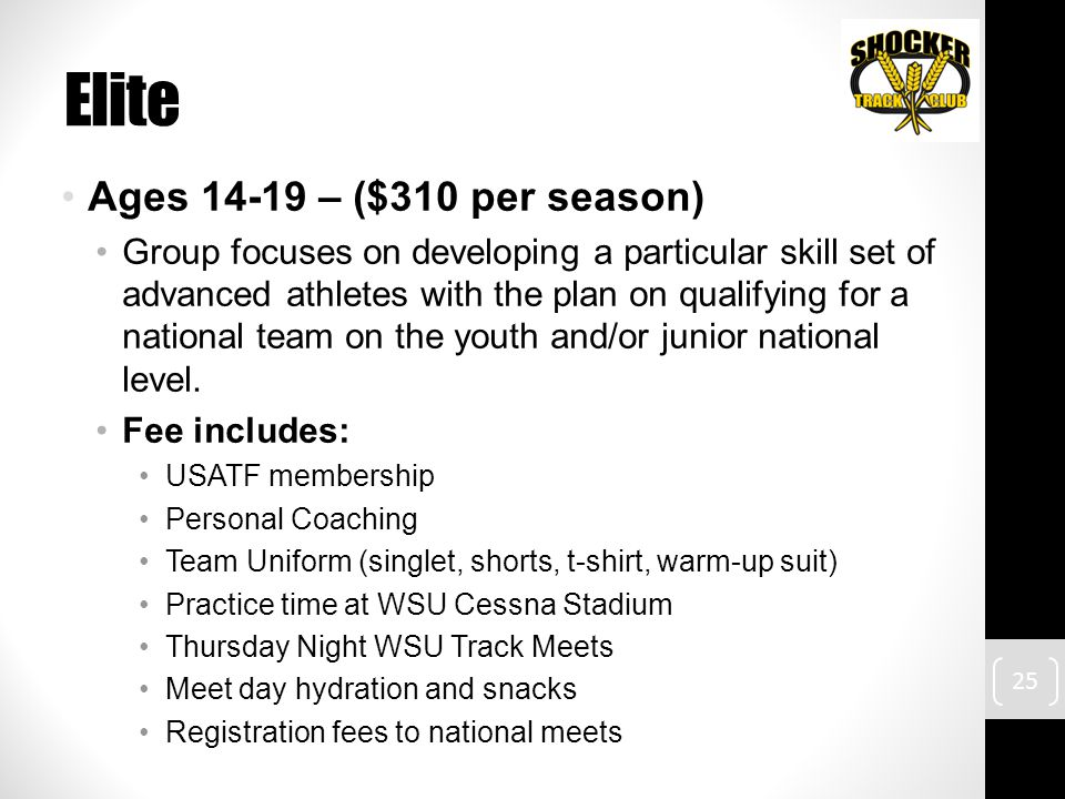 Elite Ages 14-19 – ($310 per season) Group focuses on developing a particular skill set of advanced athletes with the plan on qualifying for a national team on the youth and/or junior national level.