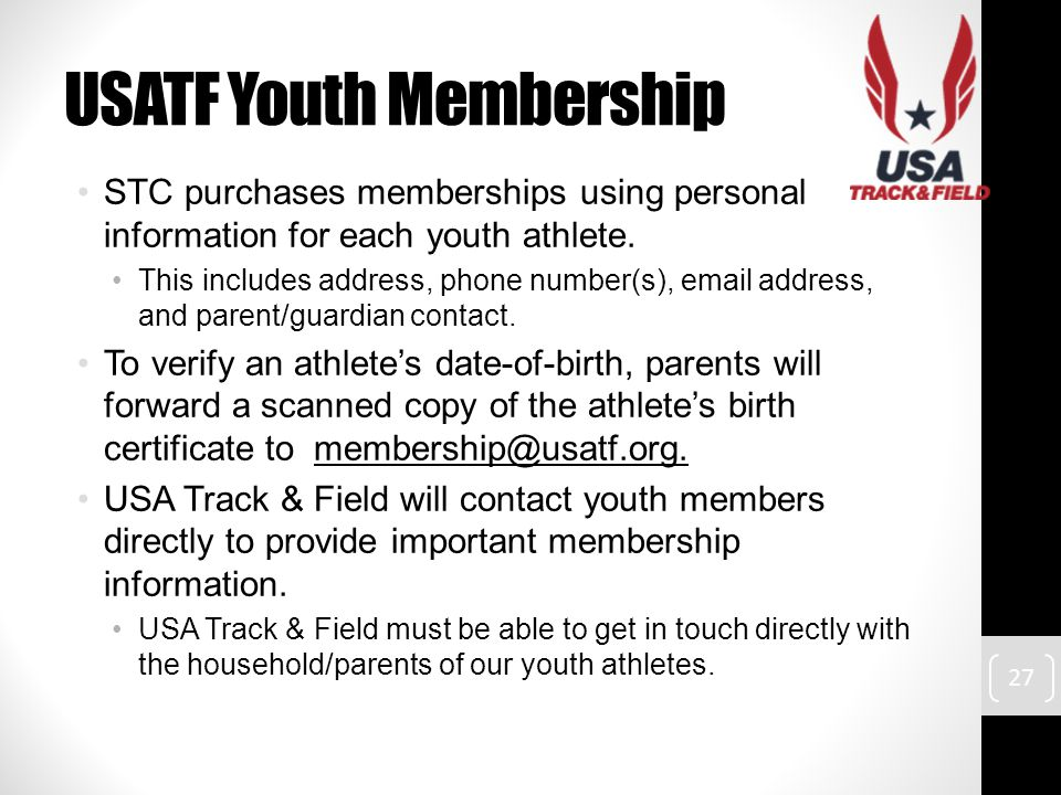 USATF Youth Membership STC purchases memberships using personal information for each youth athlete.