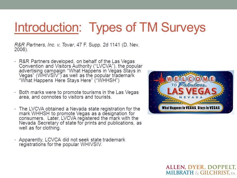 Introduction: Types of TM Surveys R&R Partners, Inc.
