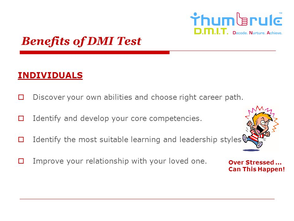Benefits of DMI Test INDIVIDUALS Discover your own abilities and choose right career path. Identify and develop your core competencies. Identify the m