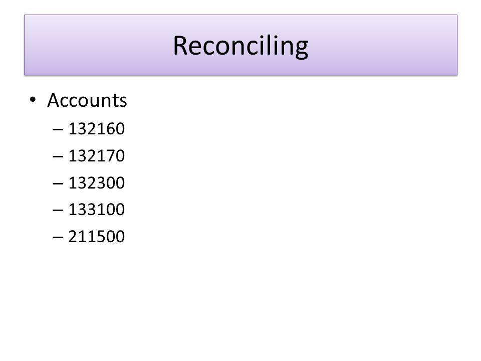 Reconciling Accounts – 132160 – 132170 – 132300 – 133100 – 211500