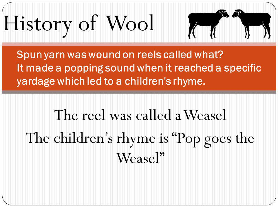History of Wool Spun yarn was wound on reels called what? It made a popping sound when it reached a specific yardage which led to a children's rhyme.