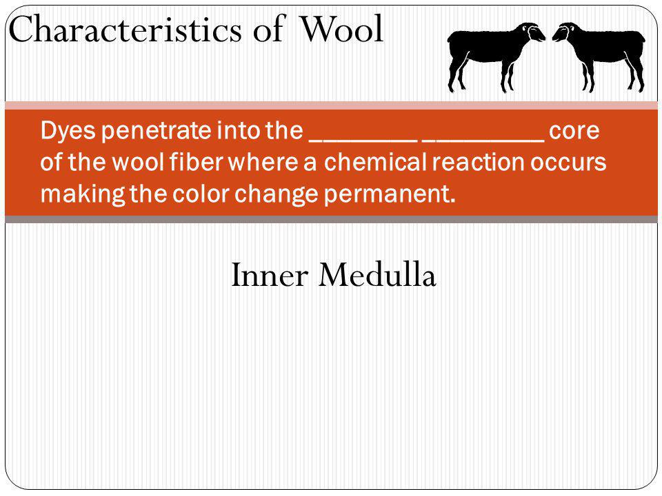 Characteristics of Wool Dyes penetrate into the ________ _________ core of the wool fiber where a chemical reaction occurs making the color change per