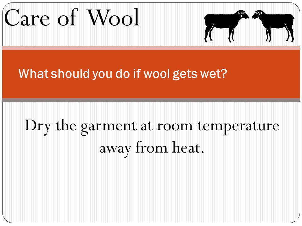 Care of Wool What should you do if wool gets wet? Dry the garment at room temperature away from heat.