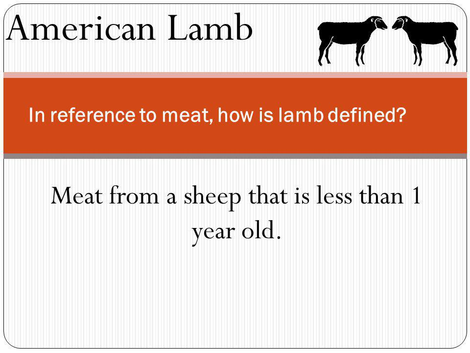 American Lamb In reference to meat, how is lamb defined? Meat from a sheep that is less than 1 year old.