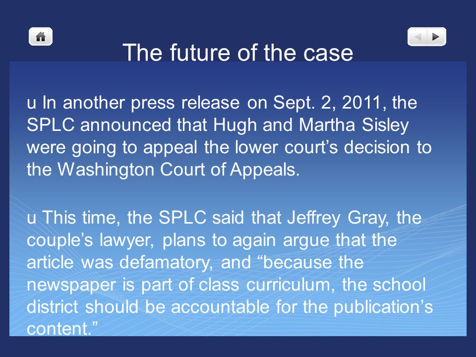 The future of the case u In another press release on Sept.