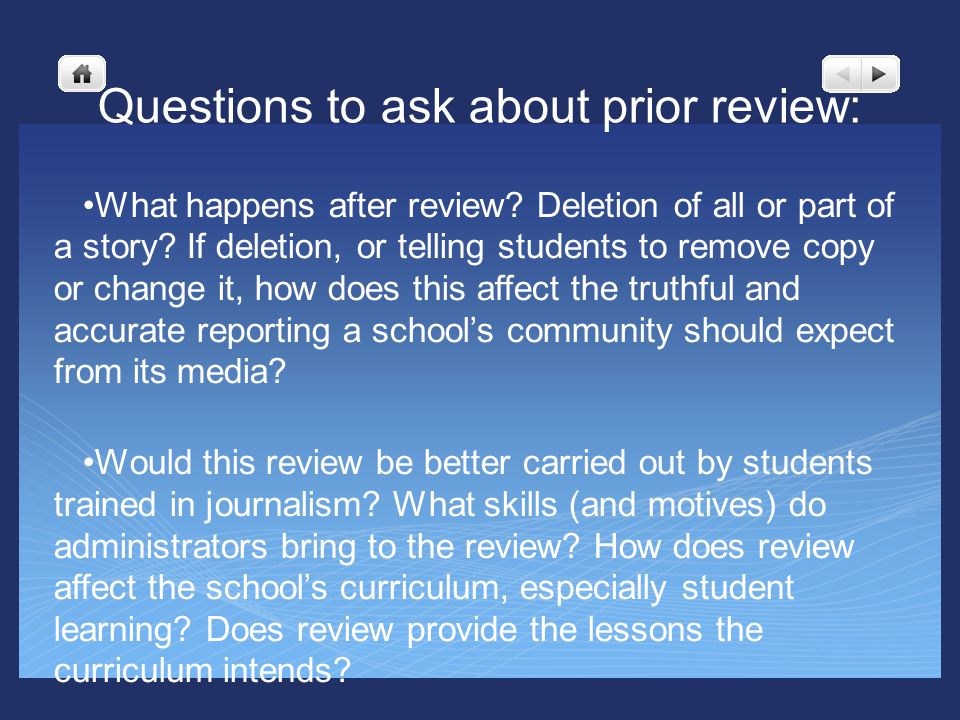 Questions to ask about prior review: What happens after review.