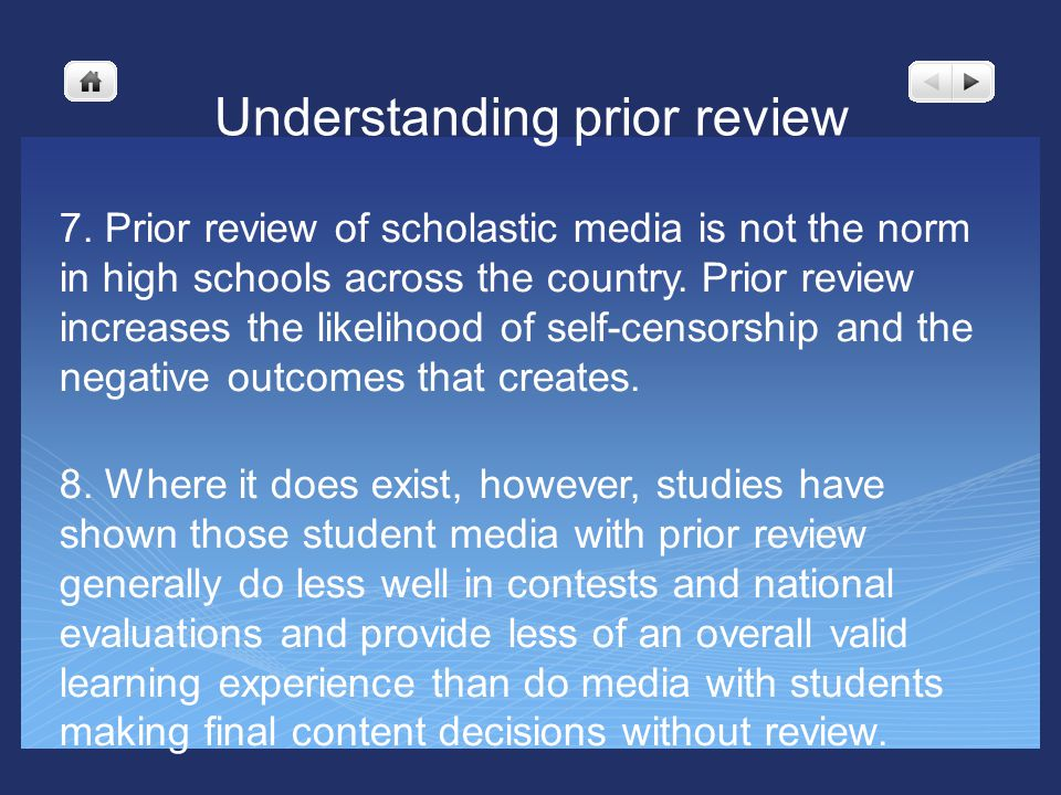 Understanding prior review 7.