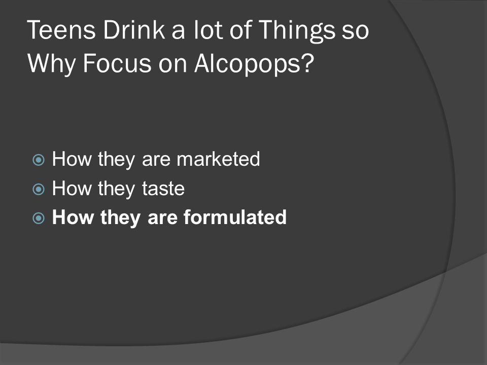 Timeline cont/ 2005: The TTB seems to ignore its own precedent and establishes the so-called 51/49 standard The 51/49 standard: Up to 49% of alcohol in alcopops can be spirits