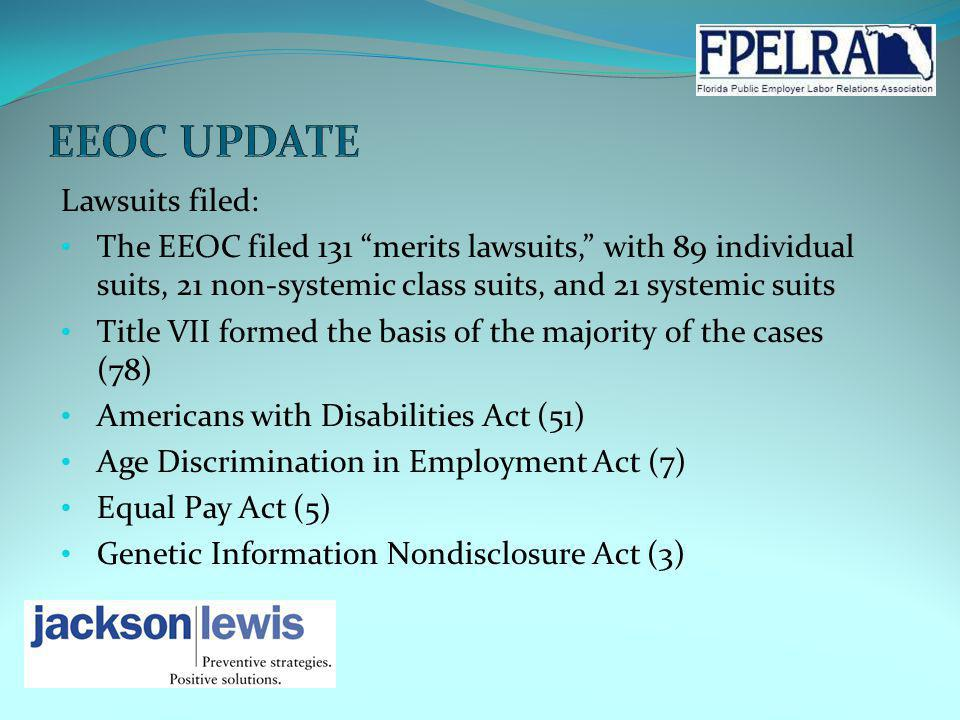 Lawsuits filed: The EEOC filed 131 merits lawsuits, with 89 individual suits, 21 non-systemic class suits, and 21 systemic suits Title VII formed the