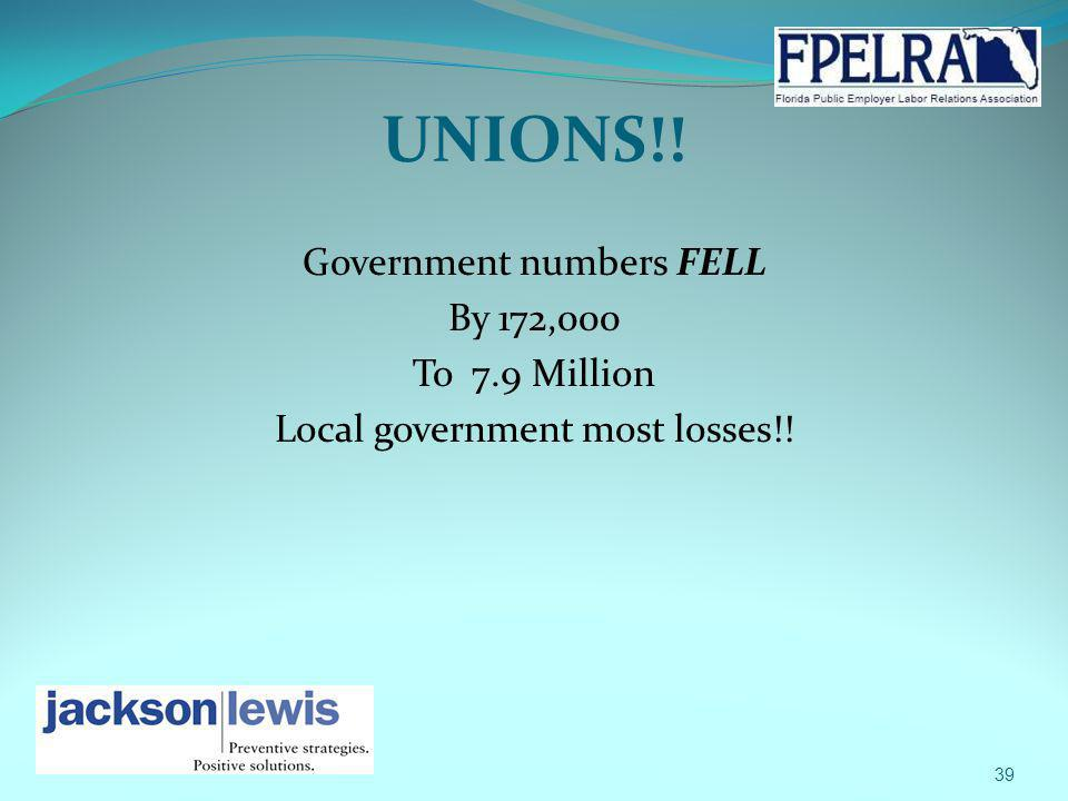 UNIONS!! Government numbers FELL By 172,000 To 7.9 Million Local government most losses!! 39