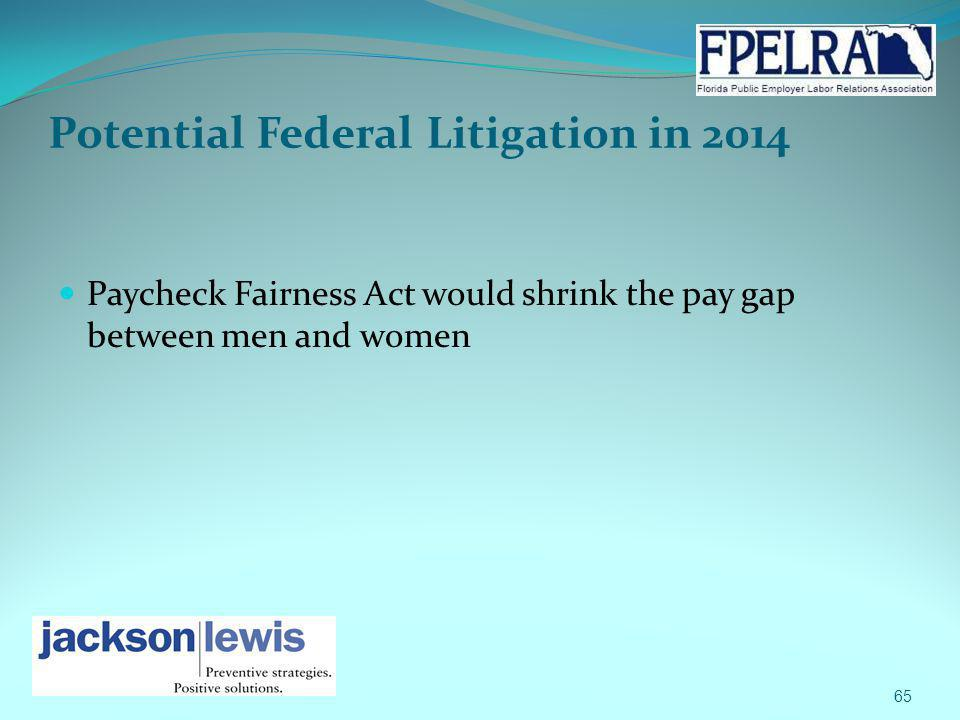 Potential Federal Litigation in 2014 Paycheck Fairness Act would shrink the pay gap between men and women 65
