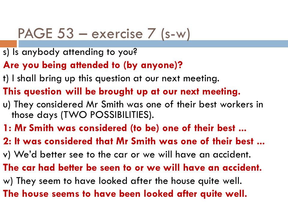 PAGE 53 – exercise 7 (x-bb) x) Why are people always laughing at me.