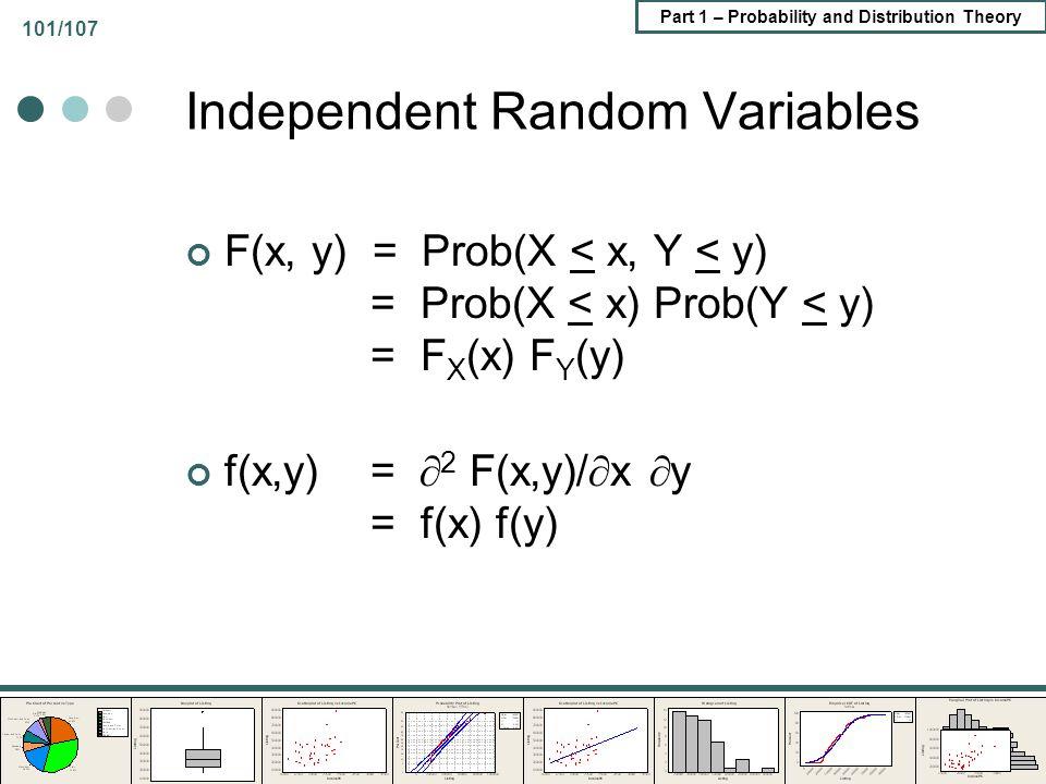 Part 1 – Probability and Distribution Theory 101/107 Independent Random Variables F(x, y) = Prob(X < x, Y < y) = Prob(X < x) Prob(Y < y) = F X (x) F Y