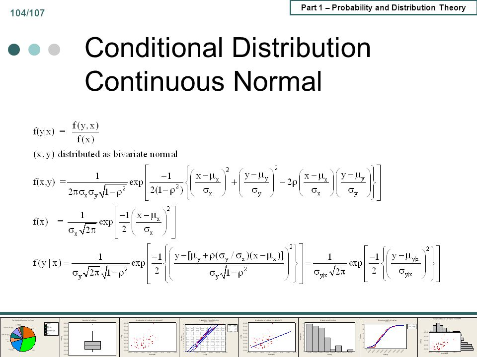 Part 1 – Probability and Distribution Theory 104/107 Conditional Distribution Continuous Normal