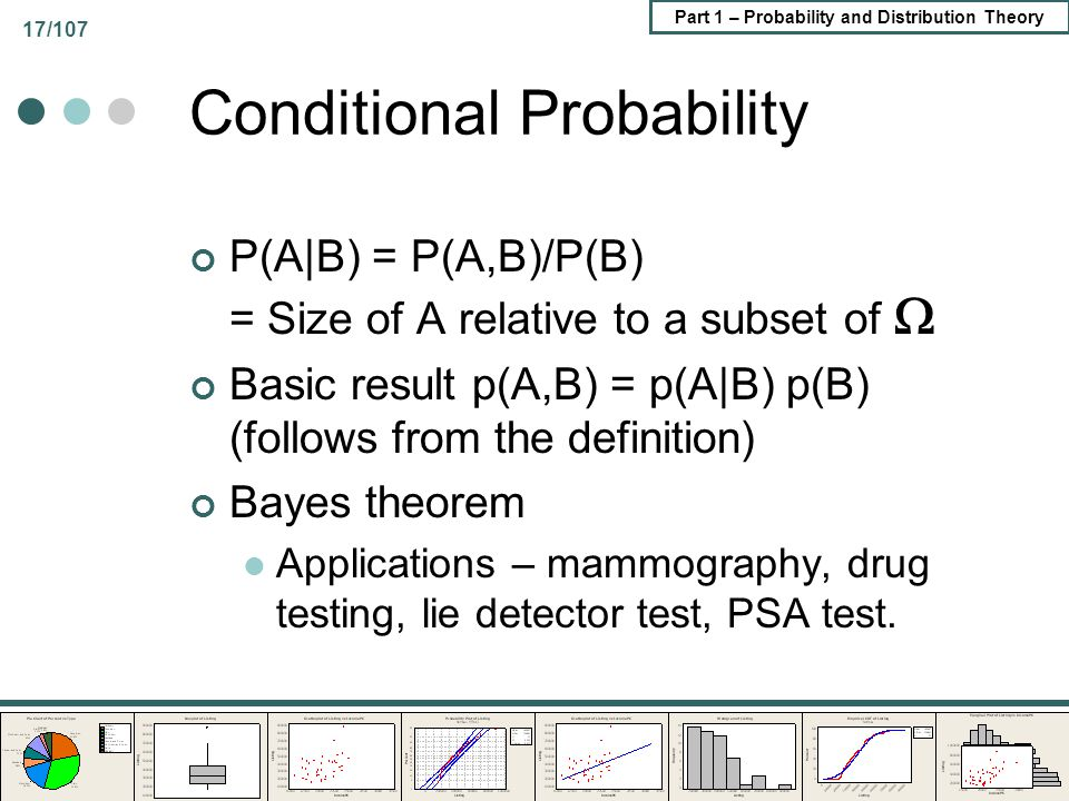 Part 1 – Probability and Distribution Theory 17/107 Conditional Probability P(A|B) = P(A,B)/P(B) = Size of A relative to a subset of Basic result p(A,