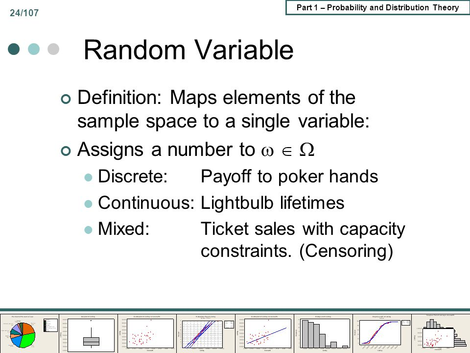 Part 1 – Probability and Distribution Theory 24/107 Random Variable Definition: Maps elements of the sample space to a single variable: Assigns a numb
