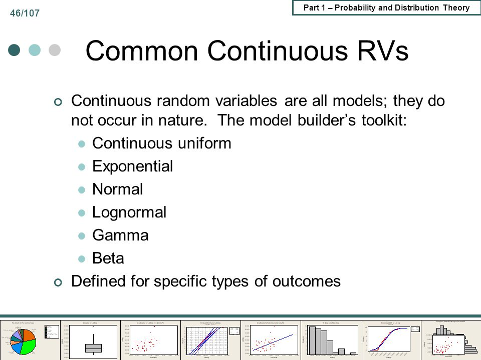 Part 1 – Probability and Distribution Theory 46/107 Common Continuous RVs Continuous random variables are all models; they do not occur in nature. The
