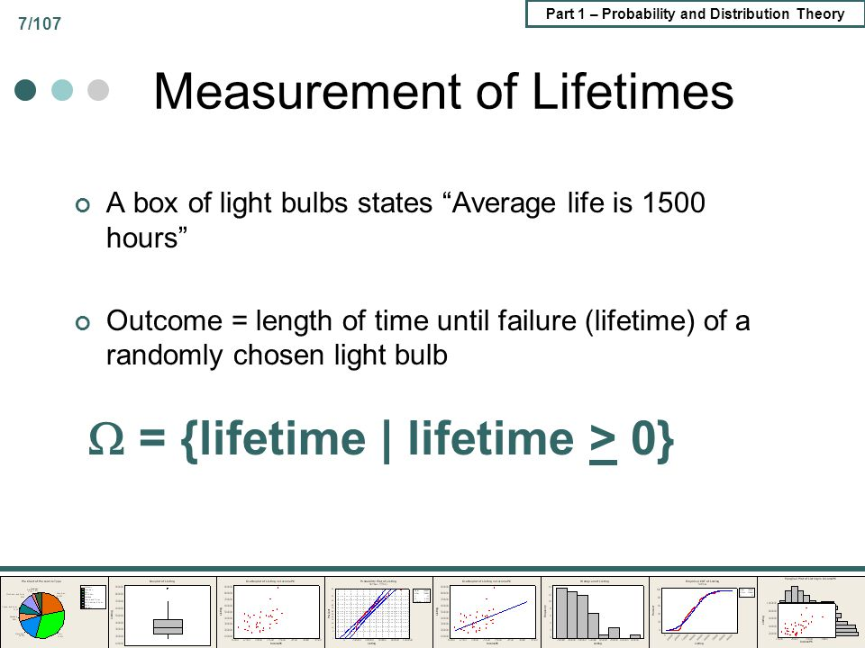 Part 1 – Probability and Distribution Theory 7/107 Measurement of Lifetimes A box of light bulbs states Average life is 1500 hours Outcome = length of