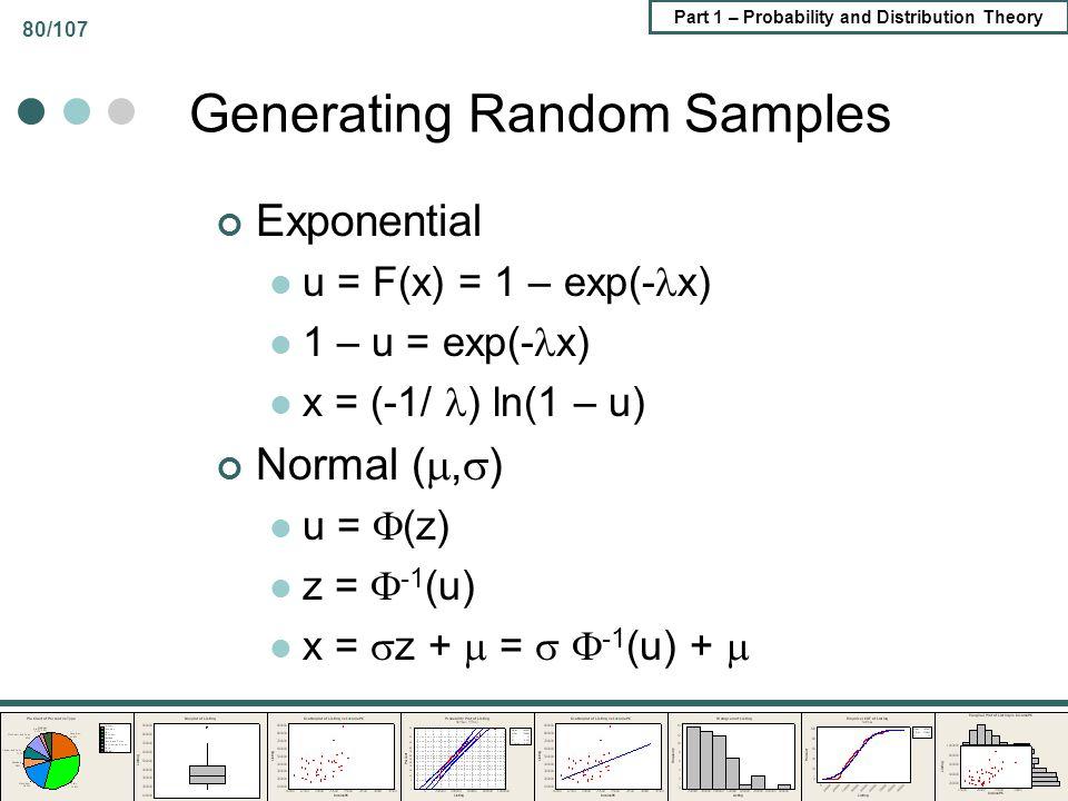 Part 1 – Probability and Distribution Theory 80/107 Generating Random Samples Exponential u = F(x) = 1 – exp(- x) 1 – u = exp(- x) x = (-1/ ) ln(1 – u