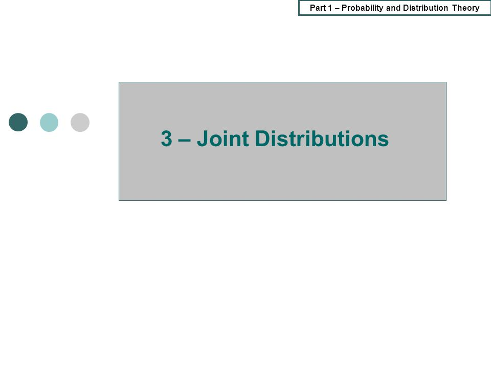 Part 1 – Probability and Distribution Theory 3 – Joint Distributions