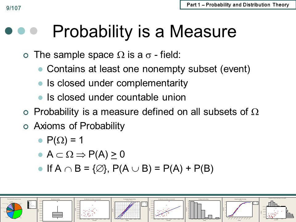 Part 1 – Probability and Distribution Theory 9/107 Probability is a Measure The sample space is a - field: Contains at least one nonempty subset (even