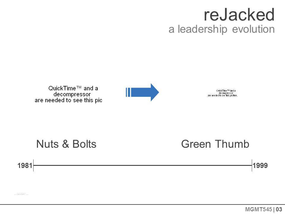 reJacked a leadership evolution MGMT545 | 03 Nuts & Bolts 19811999 Green Thumb