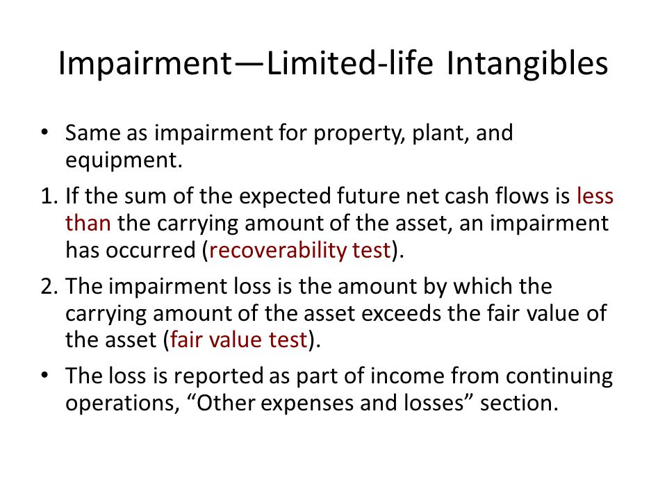ImpairmentLimited-life Intangibles Same as impairment for property, plant, and equipment. 1.If the sum of the expected future net cash flows is less t