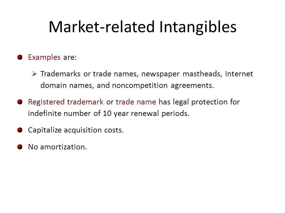 Market-related Intangibles Examples are: Trademarks or trade names, newspaper mastheads, Internet domain names, and noncompetition agreements. Registe