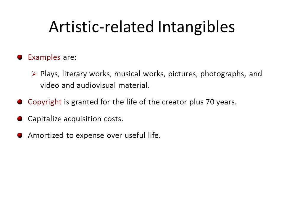 Contract-related Intangibles Examples are: Franchise and licensing agreements, construction permits, broadcast rights, and service or supply contracts.