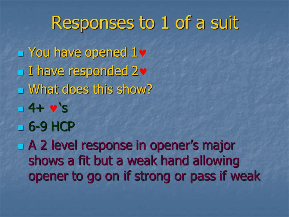 Responses to 1 of a suit You have opened 1 You have opened 1 I have responded 2 I have responded 2 What does this show.